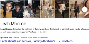 Tammy Abraham Girlfriend Leah Monroe